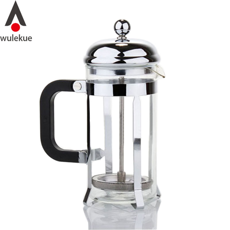 Wulekue 600ML Glass Stainless Steel French Press Coffee Tea Maker Household Office Heat Resistant Pot Tools