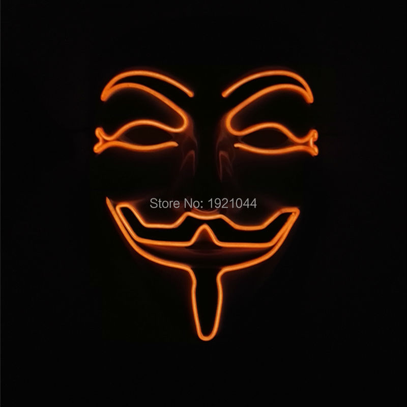2017 New Year Cosplay Mens V for Vendetta Flash Orange Color El Wire Led Glowing Mask for Party Sale By 3V Sound Active driver