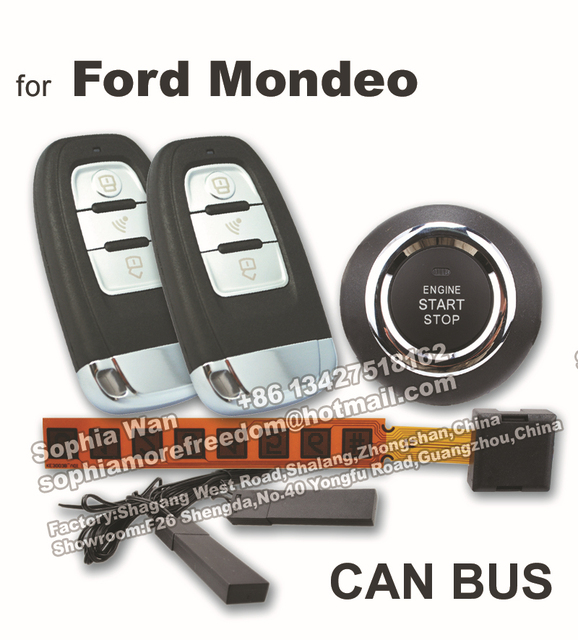 For ford mondeo fusion can bus car alarm push start button smart key for ford mondeo fusion can bus car alarm push start button smart key keyless entry remote sciox Image collections
