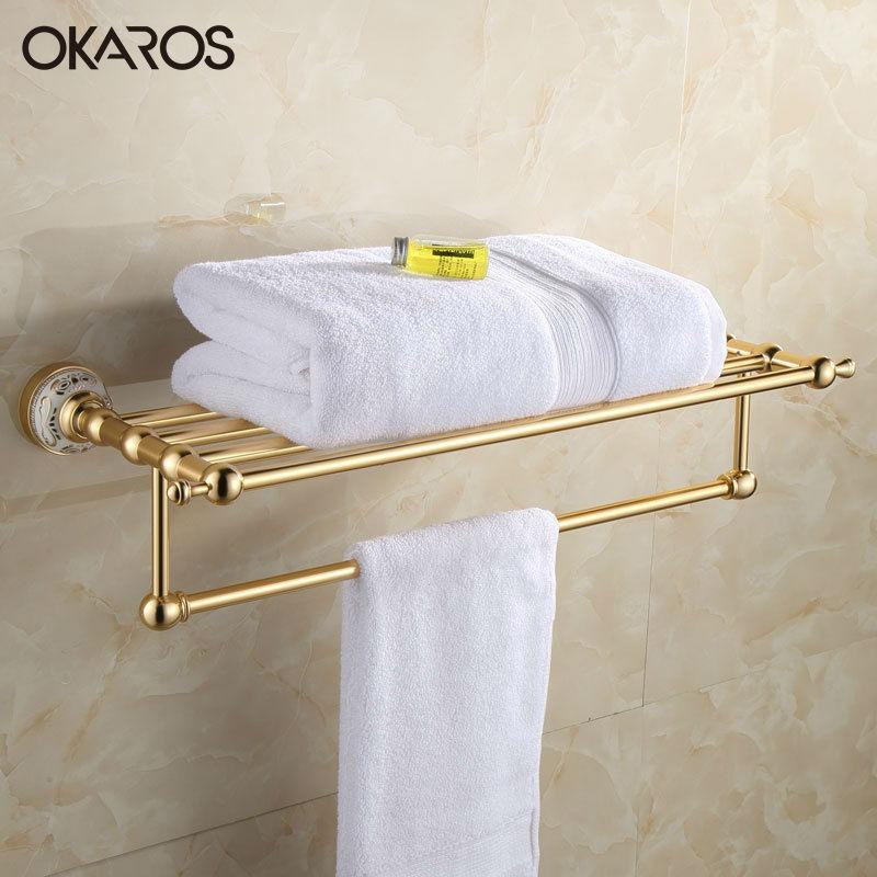OKAROS Bathroom Modern Wall Mounted Towel Rack Holder Golden Towel Shelf Tower Rail Towel Hanger  Space Aluminum Accessories tower bath towel dual bar aluminum alloy hanger rack silver