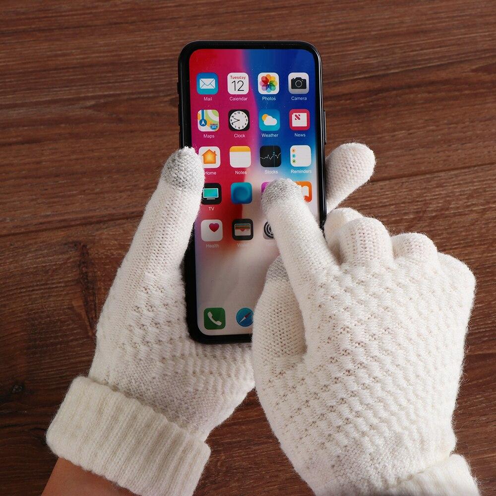 1 Pair Autumn Hot Selling New Women Warm Winter Knitted Full Finger Gloves Mittens Girl Female Solid Woolen Gloves Screen Luvas