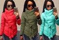 Mujeres Personalidad de La Moda Europea Otoño Invierno Cuello Alto Cordón Lrregular Dobladillo de Algodón Acolchado Chaquetas Abrigos Parkas Outwear