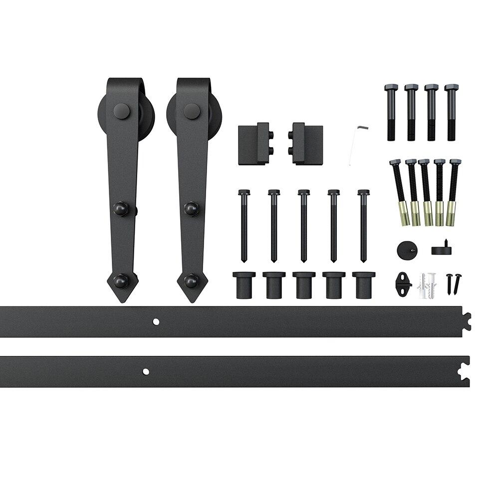 Unité de système de voie de Kit de voie de matériel de placard de porte coulissante moderne de grange pour la porte en bois simple 6FT/1860mm - 2