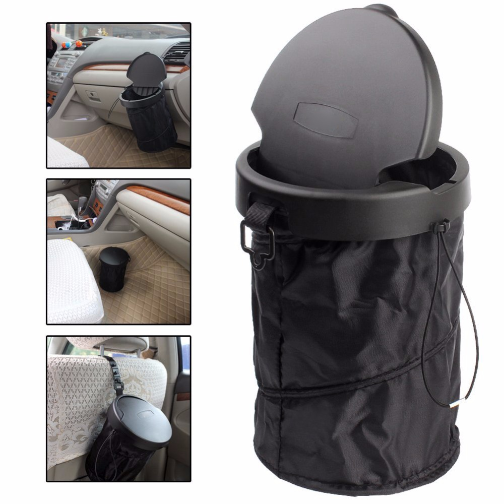Car Trash Bin Cans Folding Garbage Dust Holder Rubbish Cases Car Organizer Storage Bag Seat Waste Auto Interior mini soft silicone car trash bin rolling cover type garbage cup dust rubbish box container organizer interior accessories