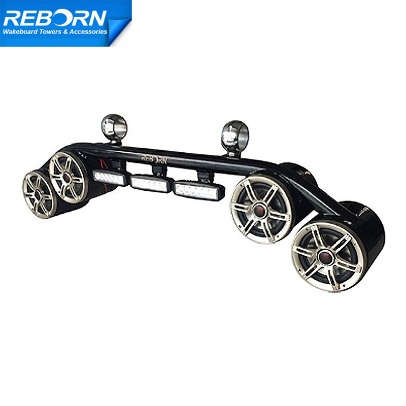 Reborn wakeboard tower 4 speakers and 3 LED lights combo black coated