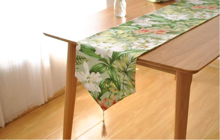 Modern Table Runners Cotton Printed Floral Table Runner for Wedding Party Home Hotel Party Table Decoration