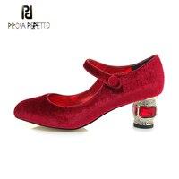 Prova Perfetto новые роскошные бархатные со стразами jewel каблучки для женщин насосы круглый носок туфли с ремешком и пряжкой банкетные обувь для ж