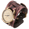 NEW Unisex Vintage Punk Genuine Leather Bracelets & Bangles Wrist Watch Wide Band Strap Quartz Watches Hours For Men Women