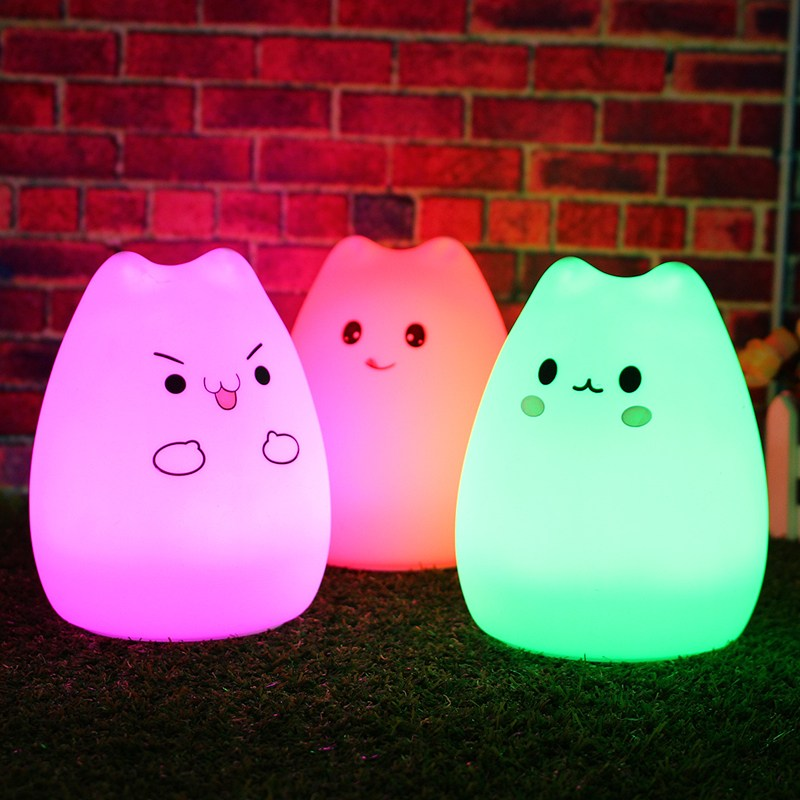 USB LED Night Light 7 Color Change Silicone Animal Cat Rechargeable Night Lamp For Children Night Lamps For Bedroom With Remote