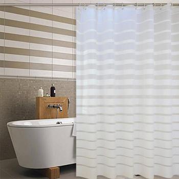 Plastikowe zasłony prysznicowe PEVA z białymi paskami zasłonka do kąpieli na domowy hotel łazienka wodoodporna odporna na pleśń zasłona z hakami tanie i dobre opinie Pa an Europa W paski SH-16 Zaopatrzony Ekologiczne 150x180cm 180X180cm 180x200cm 200x200cm 240x200cm