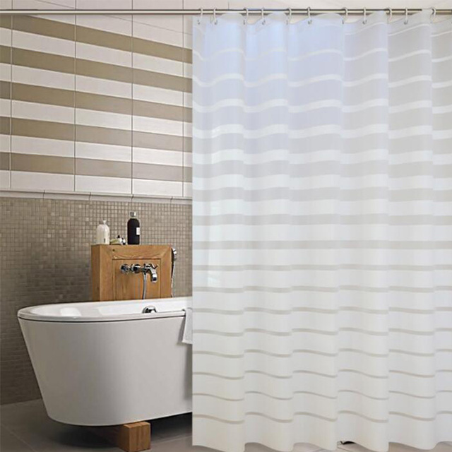 Simple Europe Plastic Shower Curtain White Striped PEVA Curtains For Home Hotel Bath Room Eco