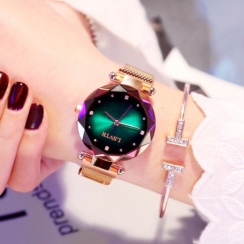 Luxury Green Women Watches 2019 New Fashion Ladies Dress Clock Mesh Steel Waterproof Female Starry Sky Wristwatch Gift For Wife