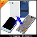 100% testado original para sony xperia z3 compact z3 mini M55W Tela LCD Digitador Assembléia com Quadro + Tampa Traseira-branco/Preto