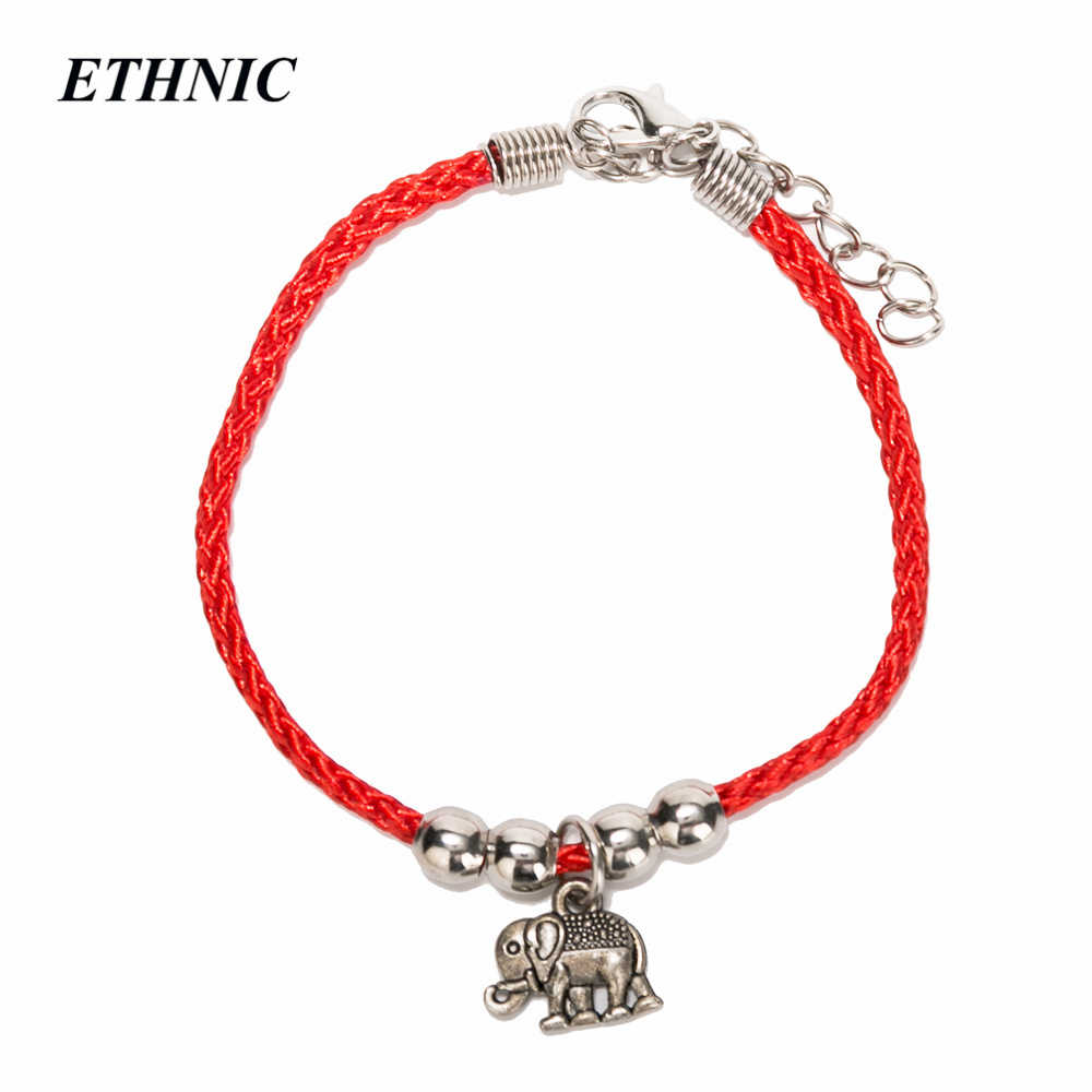 1 pcs Vintage Charm Elephant Hand Infinity Red Thread String Bracelet For Women Men With Extension P