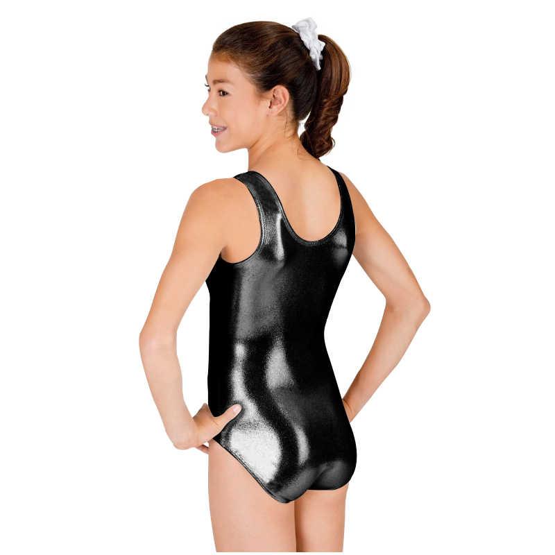 Ensnovo женский блестящий костюм балетная танцевальная одежда без рукавов боди трико для женщин черные колготки костюм из лайкры блестящий металлик Unitard