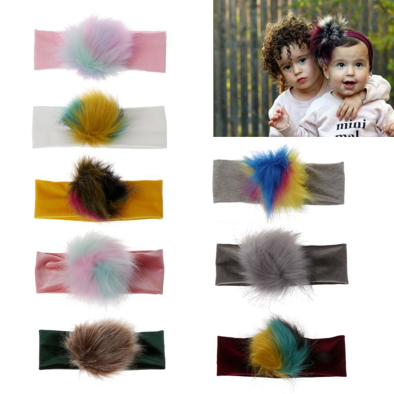 Colorful Raccoon Faux Fur Pompoms Baby Headband Cotton Children Girls Elastic Hair Bands Turban Toddler HeadbandsColorful Raccoon Faux Fur Pompoms Baby Headband Cotton Children Girls Elastic Hair Bands Turban Toddler Headbands