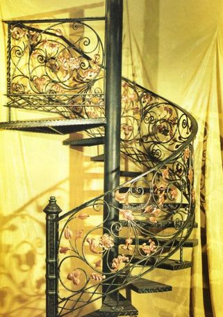 Curved Staircase Iron Stairs Design Exterior Wrought Iron Stair   Cast Iron Staircase Railing   Exterior   Spanish Style   Walnut Iron   Balcony   Ornamental