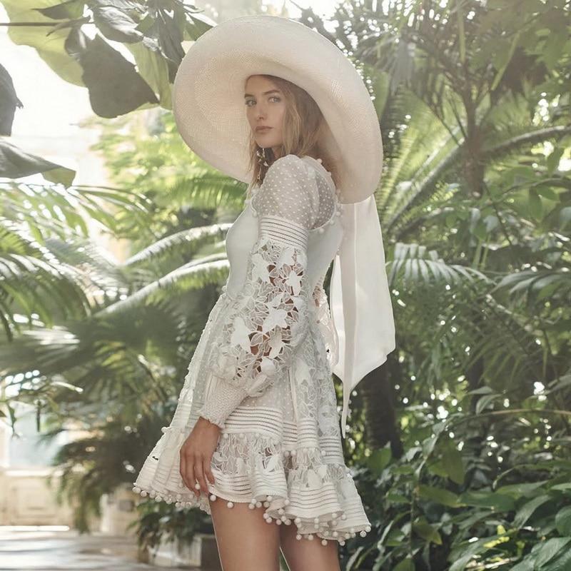 Donna Per V Bianco Nappa Eleganti Rappezzatura Lunga Abiti Primavera Vestito A Le Moda 2019 Ha001 Mini Di Scollo Manica Donne Della wr77IqngW0