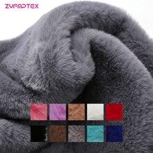 Zyfmptex alta densidade 800 grama 160 cm largura super macio pele de coelho do falso 12mm tecido de pele do falso diy sapatos chapéus material