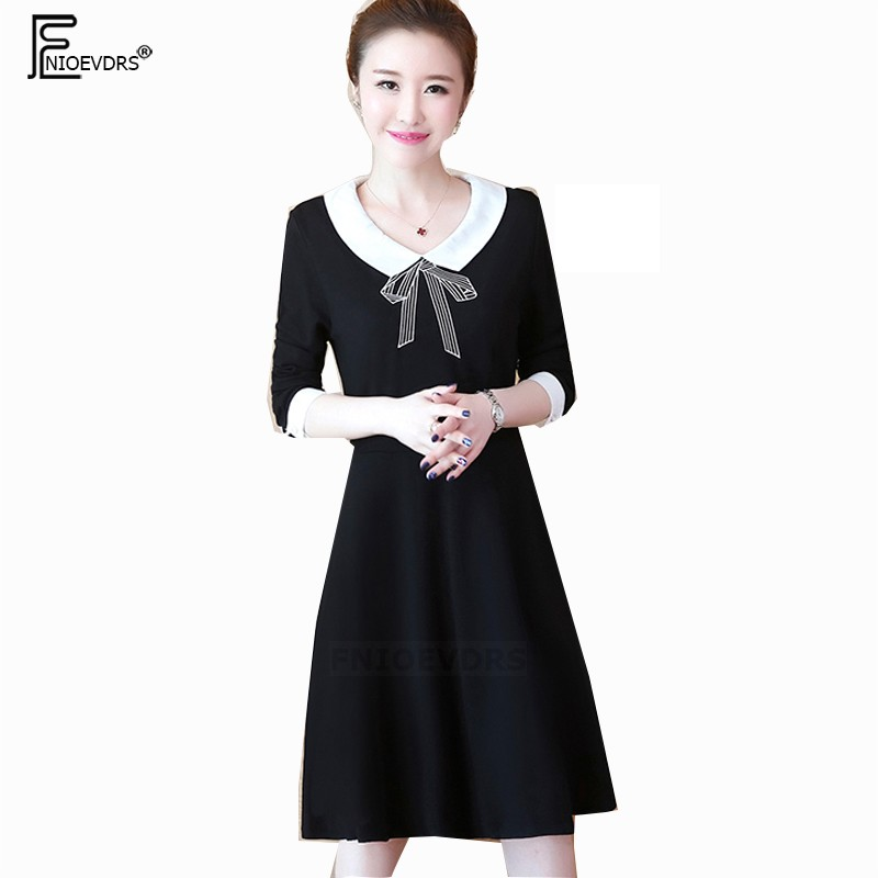 e80bf3a9b3f8 ... Autumn Winter Basic Midi Dresses Women A Line Long Sleeve Elegant  Office Lady Embroidery Cute Peter ...