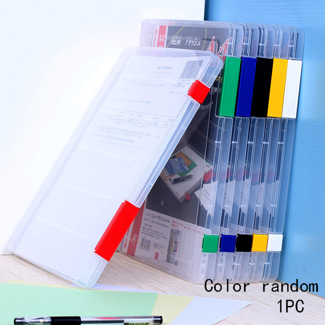 A4 File Box With Lock Transpa Doent Storage Plastic Durable Cases School Office Supplies Size
