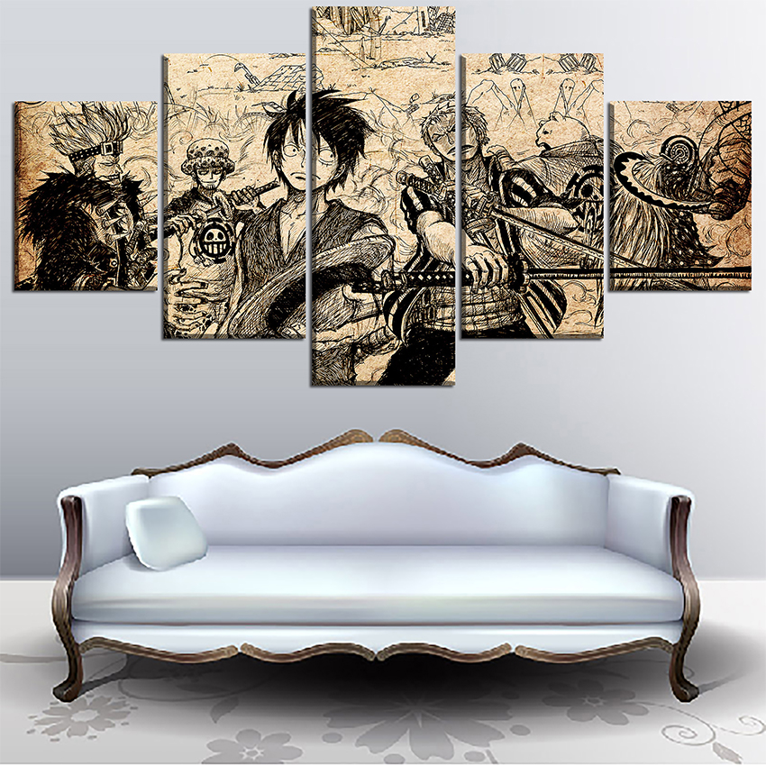 Wall Art High Quality Canvas Print One Piece Painting 5 Panel Artistic Characters Picture Framework Anime Poster Home Decorative