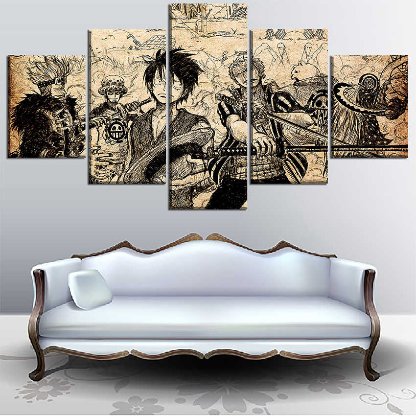 3ddfb402307 Detail Feedback Questions about Wall Art High Quality Canvas Print One Piece  Painting 5 Panel Artistic Characters Picture Framework Anime Poster Home ...