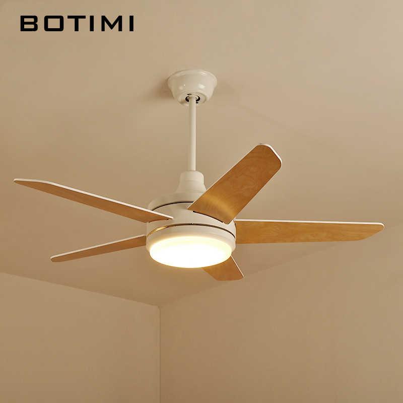 Botimi скандинавские светодиодные потолочные вентиляторы с подсветкой Ventilador De Teto 220 V белая Потолочная люстра с вентилятором современная деревянная охлаждающая вентилятор лампа