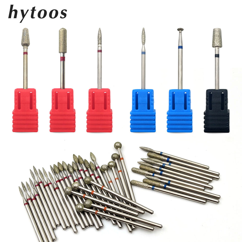 HYTOOS 2Pcs Diamond Nail Drill Bit Set Rotary Burr Manicure Cutters For Cuticle Clean Drill Machine Accessory Nail Mills Tool