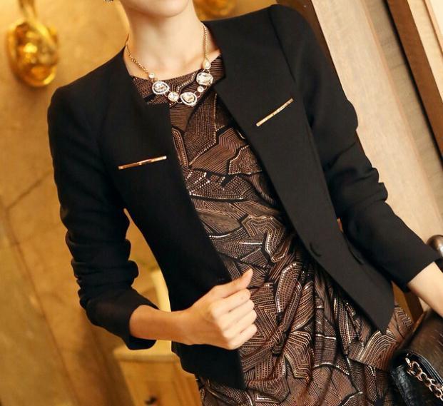 Мода Куртка Blazer Женщины Костюм Складная Длинные Рукава Нагрудные Меху Полосатой Одной Кнопки Vogue Пиджаки Куртки
