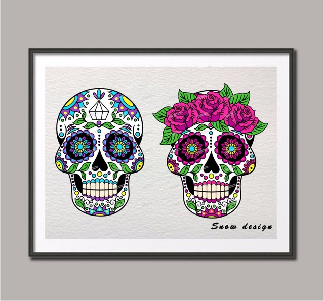 Acuarela original cráneo mexicano del azúcar 6 lienzo pintura ...