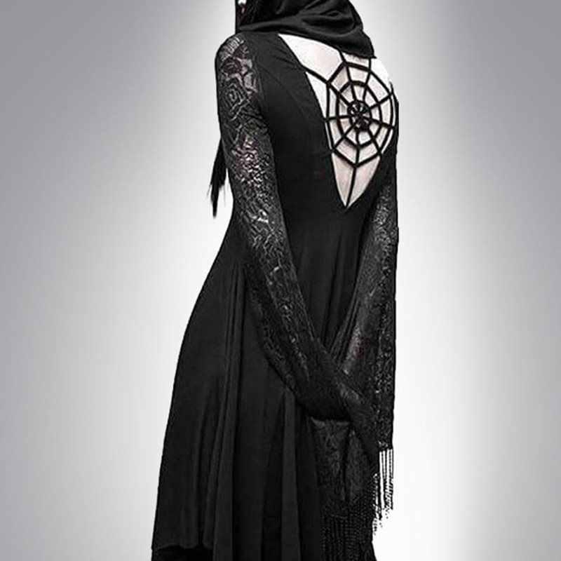 Rosetic готическое платье с капюшоном для женщин с открытой спиной сексуальное кружевное длинный рукав, асимметричный модный полый черный Элегантный Панк повседневные платья