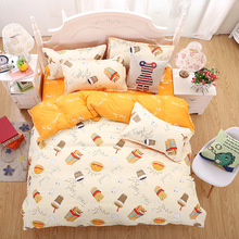 2017 single bed sheets or queen king size bedclothes 4pcs Bedding set Cotton bed sheet +duvet cover + pillowcase bed linen set