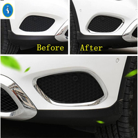 yimaautotrims Auto Accessory Front Head Fog Lights Cover Molding Trim Chrome Fit For Mercedes Benz GLC X253 2016 2017 2018 2019