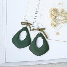 Vintage Cute Hollow Wooden Earrings For Women Anting Wanita Drop of Water Green Wood Earrings Indian Jewelry Girl Earing Gift цена