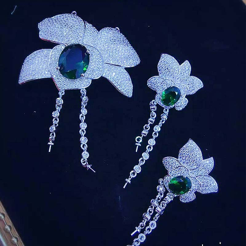 Un ensemble blanc rouge vert bleu couleur pendentif bricolage pour bijoux pendentif boucles d'oreilles crochet fermoir serrure FPPj