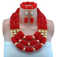 2017 Latest Nigerian African Beads Wedding Jewelry Set Red Women Fashion Jewelry Set Wedding Necklaces for Brides Free Shipping
