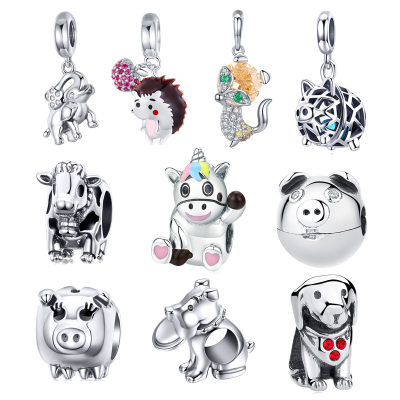 58296694c INBEAUT 100% 925 Sterling Silver Lovely Pig Fox Sheep Beads Little Naughty  Bear Dog Charms fit Pandora Bracelet Jewelry Making