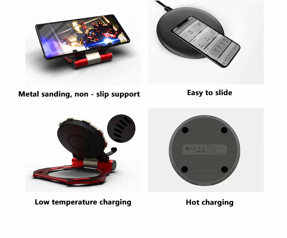 R-Just Iron Man Phone Holder Aluminum Metal Fast Charging Wireless Charger Pad