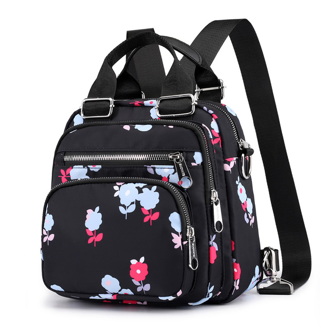 Multifuction small backpacks 2018 Leaf & Flower & Ice Cream Pattern Women backpack Triple use Multi Pockets Female shoulder bag
