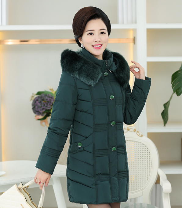ФОТО Mother installed Korean thick down jacket cotton jacket in the elderly women in cotton long warm cotton jacket