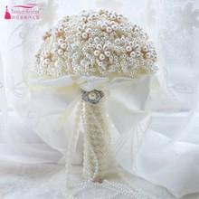 New Artificial Pearls Wedding Bouquets 2018 for Brides Bridal Elegant Handle Bouquets Wedding Accessories D561
