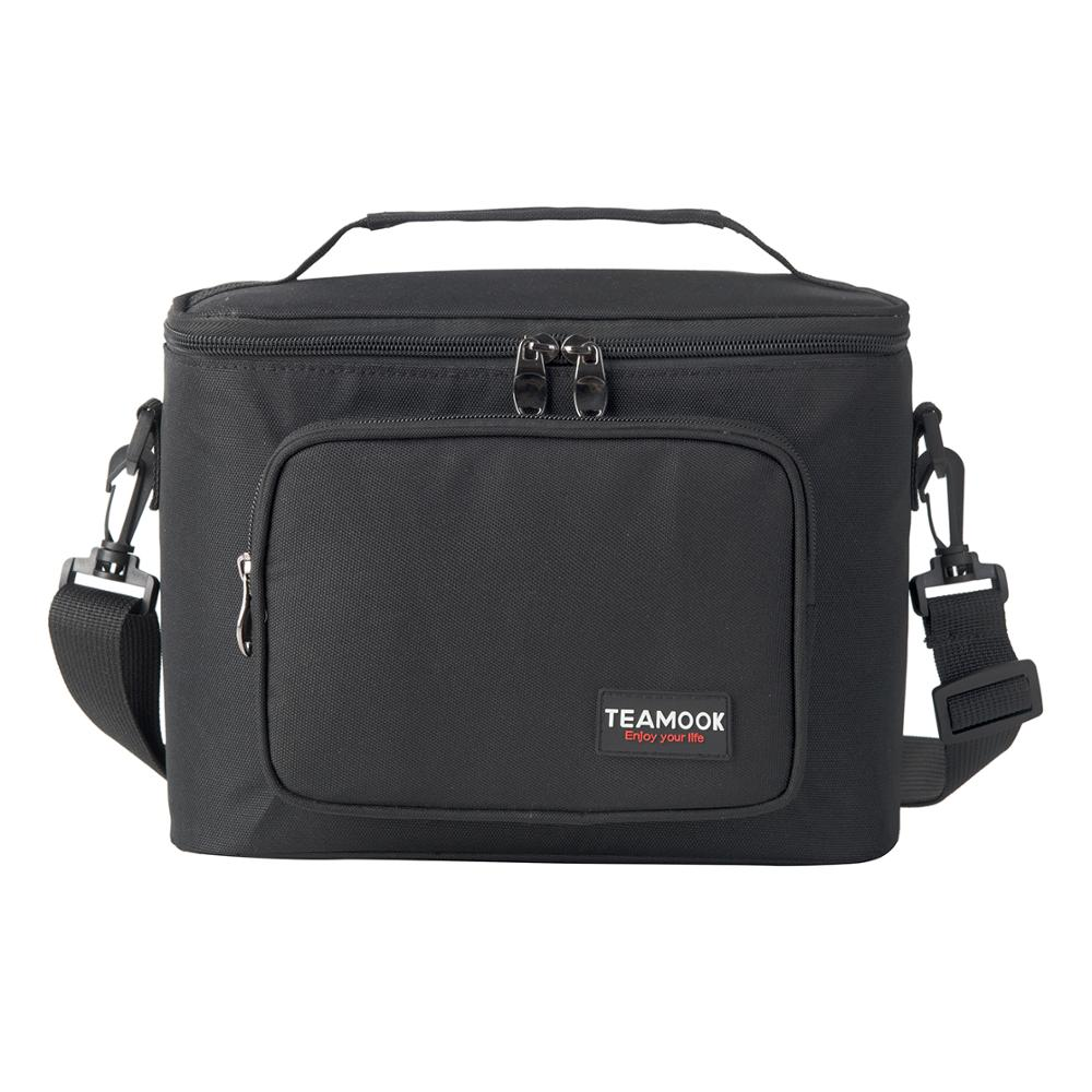 TEAMOOK Large Insulated Portable Lunch Bag For Men Women Kids Thermal Picnic Food Bag Waterproof Lunch Box Bag Black 8L