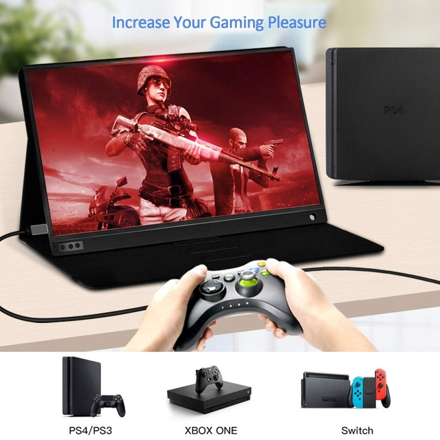 15.6 inch LCD Monitor Portable Ultrathin 1080P Gaming Monitor IPS HD USB Type C Dispaly for laptop phone XBOX Switch and PS4