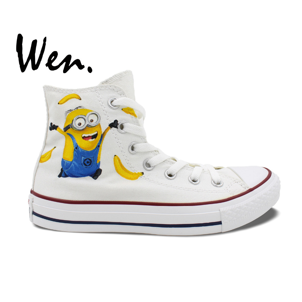 0d2fd980990a Wen Design Custom Shoes White Hand Painted Sneakers Bananas Minions  Despicable Me High Top Canvas Sneakers for Men Women