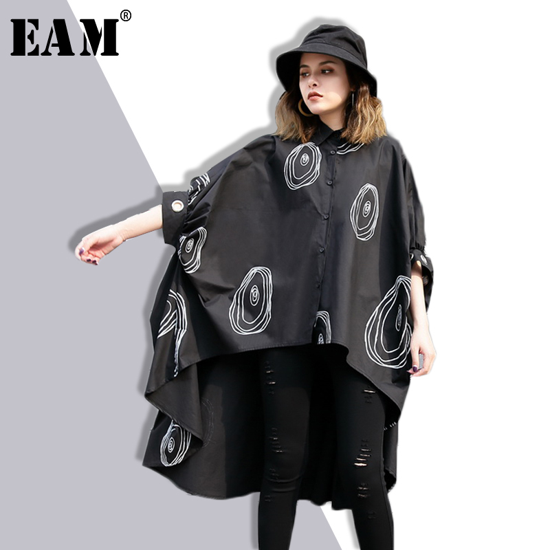 [EAM] 2018 New Summer Lapel Nine-part Sleeeve Black Printed Dovetail Loose Big Size Shirt Dress Women Fashion Tide JF057