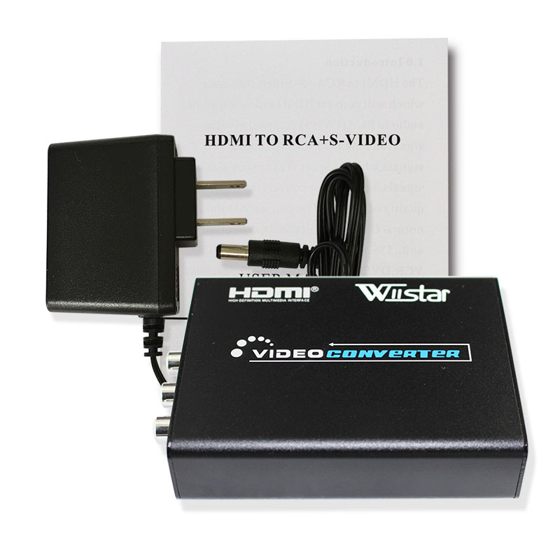 Wiistar HDMI To AV/S Video Converter Adapter HDMI To AV RCA Composite & S-video Video R/L Audio PAL/NTSC Switch HD For DVD PS2
