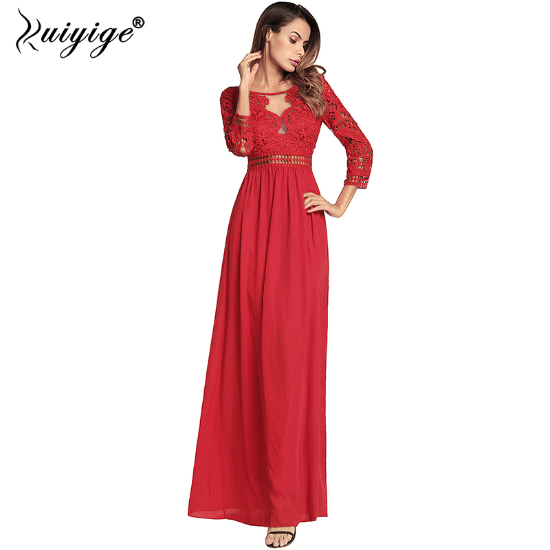 Ruiyige 2018 Women Hollow Out Backless Maxi Dress Lace Patchwork Chiffon Sexy Party Tunic Elegant Dresses Long Lining Vestidos
