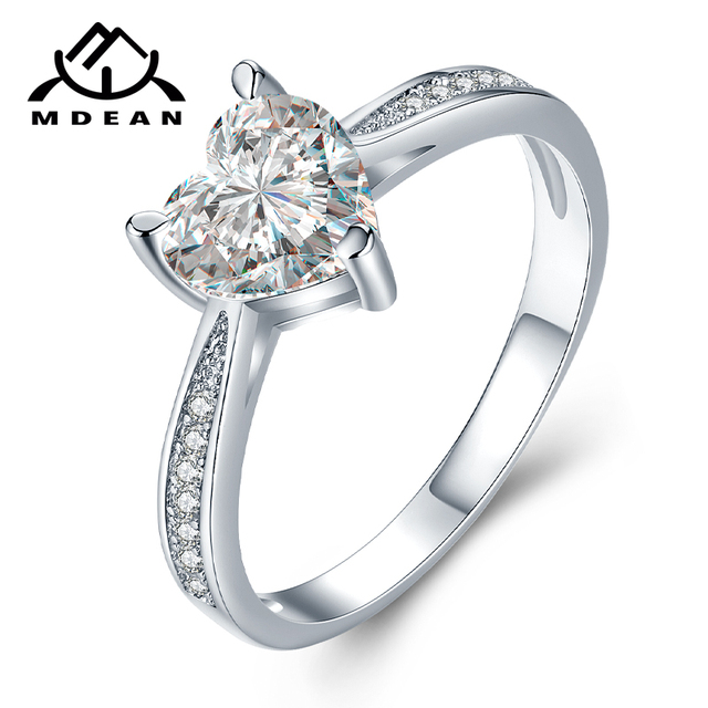 MDEAN White Gold Color Rings for Women Engagement Wedding pink AAA Zircon Jewelr