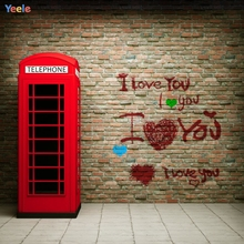 Yeele Photography Backdrops Red Telephone Booth Graffiti Brick Wall Photographic Backgrounds Portrait Shoots For Photos Studio